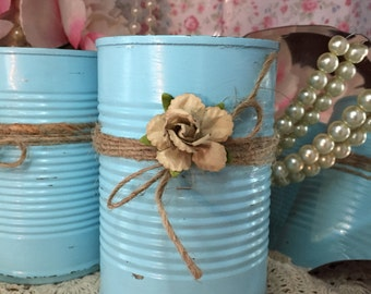 Shabby Chic Blue Tin Can Desk Vanity Set Table Centerpiece Home Dorm Nursery Decor Rustic Decorated Turquoise Jute Paper Flowers