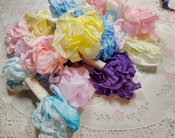 Hug Snug Hand Dyed Seam Binding Ribbon - Wrinkled Crinkle Ribbon - VARIEGATED Pink Blue Lavender Yellow Green Ribbon- You Choose Color - 6 Y