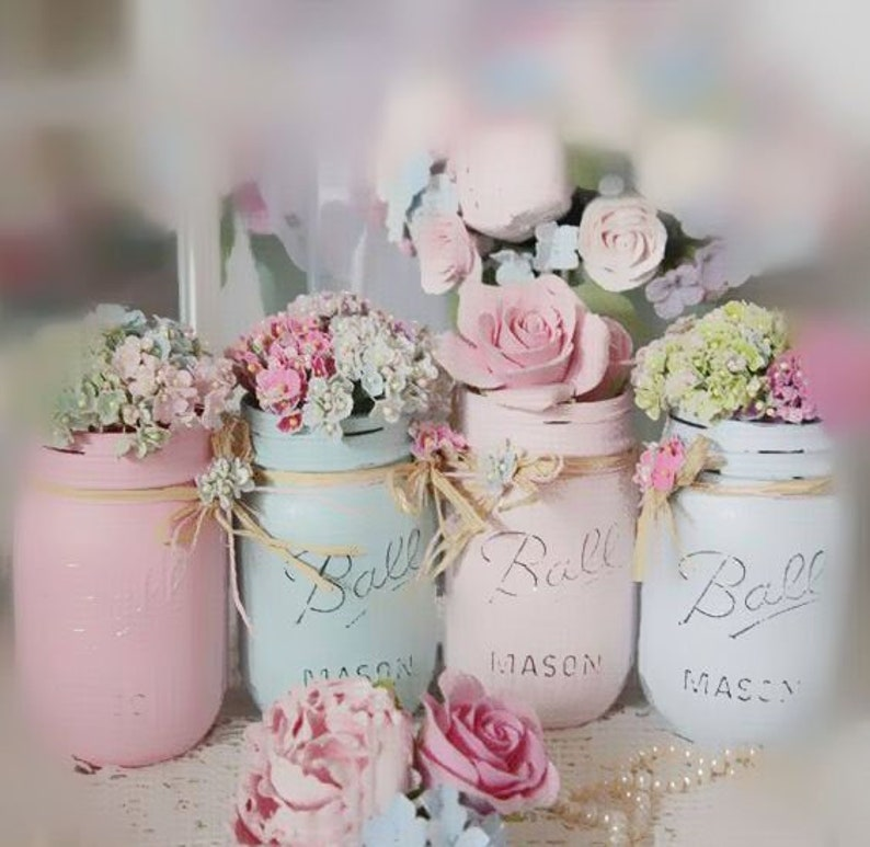 Shabby Chic Painted Mason Jar Centerpiece Decor Vase Wedding Etsy
