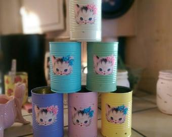 Vintage Kitty Cat Painted Cans Retro Themed Kitten Kitties Baby Shower Nursery Home Kitschy Kitsch Decor Table Centerpiece Flower Vase Gift