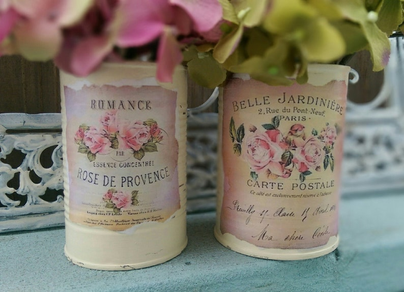 2 Shabby Chic French Country Ivory Tin Cans Handpainted image 0