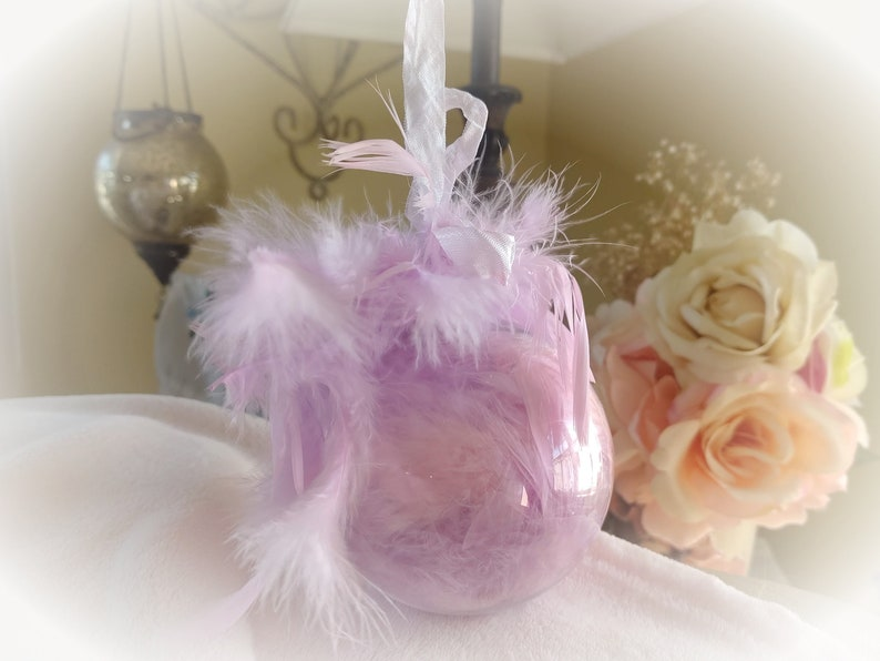 Shabby Chic Pink and Purple Feather Christmas Tree Ornament  image 0