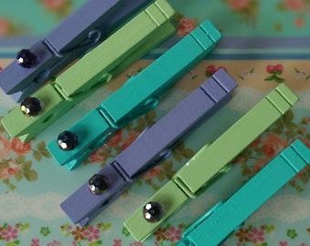 6 Peacock Clothespin Magnets .. Teal, Lavender, and Green .. Beaded Boho Bohemian Dorm Home Office Kitchen Locker File Cabinet Refrigerator