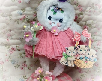 Bunny Rabbit Easter Spring Decor Vintage Style Bump Chenille Figure Shabby Chic Pipe Cleaner Paper Doll Figurine Paperdoll Cake Topper Gift