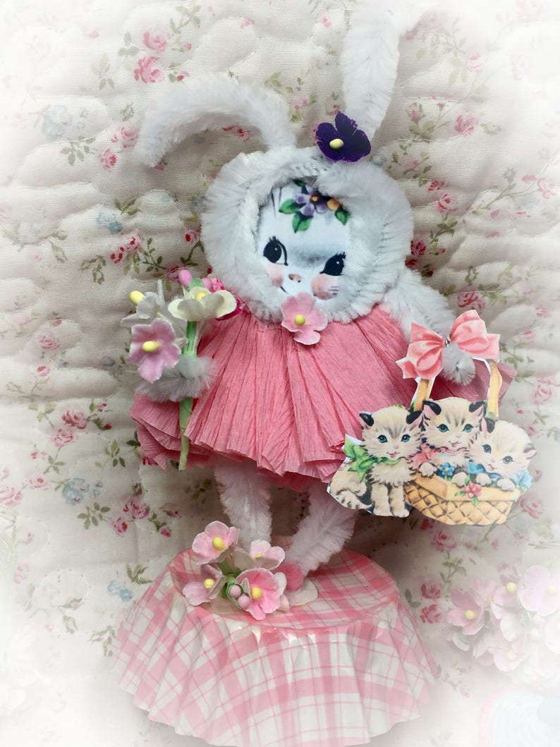 Bunny Rabbit Easter Spring Decor Vintage Style Bump Chenille image 0