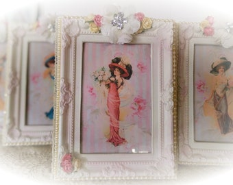 Shabby Chic Ornate Picture & Frame HARRISON FISHER GIRL Victorian Style White Pink Frame Picture-Shabby Chic Home Decor-Shabby Chic Art Gift