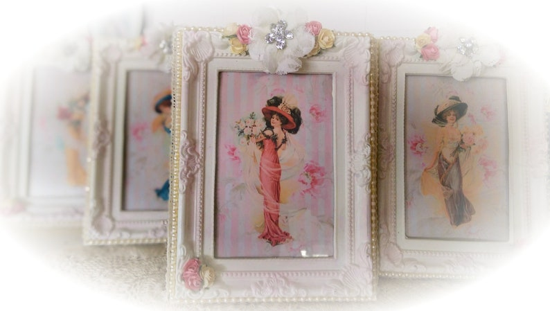Shabby Chic Ornate Picture & Frame HARRISON FISHER GIRL Lady in Pink Dress