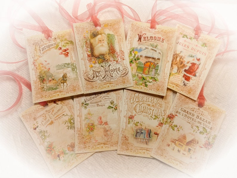 8 French Victorian Christmas and Red Ribbons Gift Tags SET OR image 0