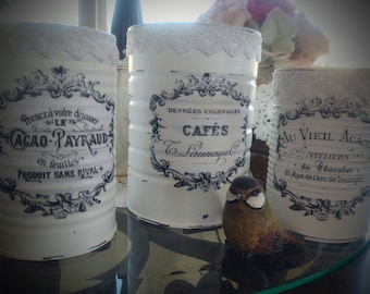 FRENCH COUNTRY Tin Cans - White Farmhouse Rustic Decor - Typography French Labels - Paris France Home Decor - Shabby Chic Home Decor - Gift
