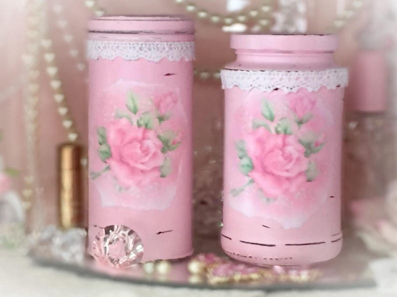 2 Pc Pink Shabby Chic Painted Glass Jar & Can Canister Set image 0