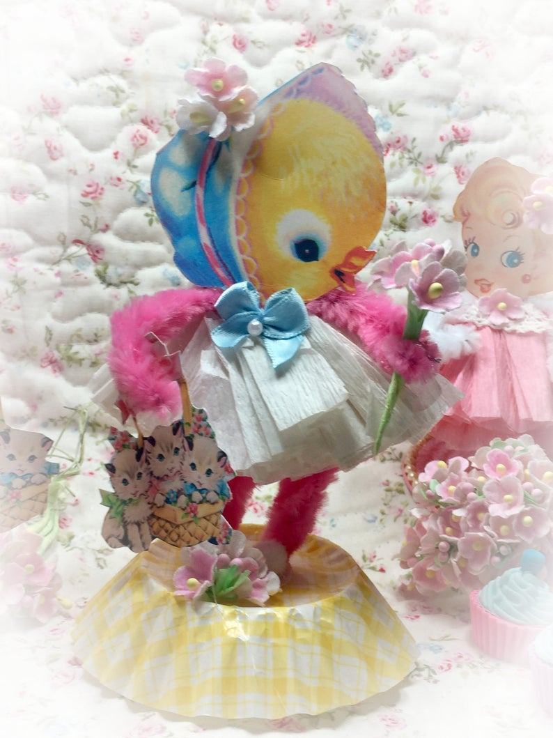Baby Chick Easter Spring Decor Vintage Style Bump Chenille image 0