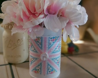 Shabby Cottage Chic Union Jack English Flag Great Britain Hand Painted Tin Can Vase Centerpiece Dorm Nursery Office Home Decor Patriotic