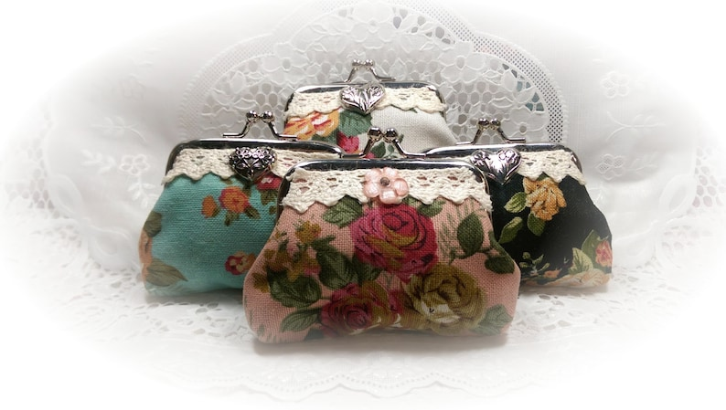 Shabby Chic Coin Purse Clutch Purse Pink Teal White Black image 0