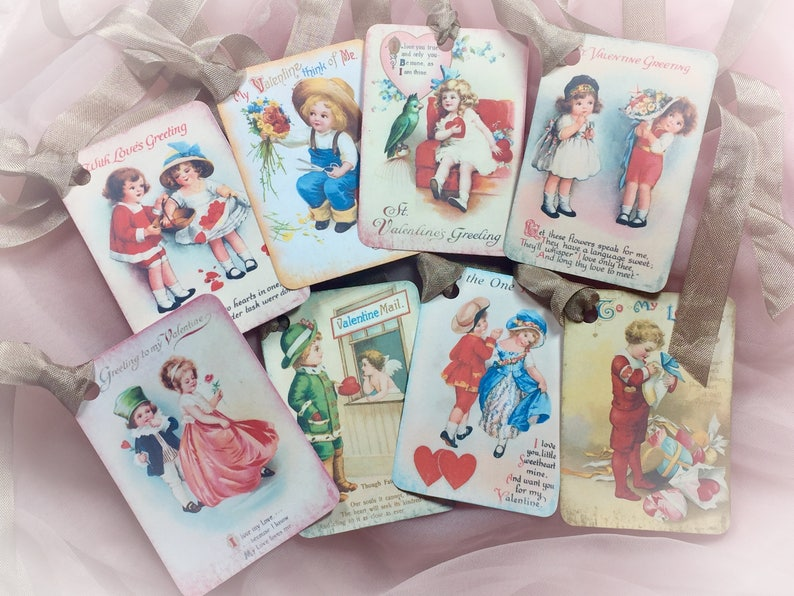Set of 8 Victorian Style Valentine's Day Decor Gift image 0