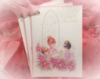 Set of 9 Pink Christmas Vintage Angels Baby Jesus and Pink Ribbons Gift Bag Art Tags  Xmas Tree Ornaments Shabby Chic Retro Greeting Cards