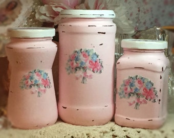 3 Shabby Chic Pink Vintage Glass Jars Canisters Decoupage Flower Floral Bouquet Storage Painted Chippy Distressed Vase Centerpiece Home Dorm