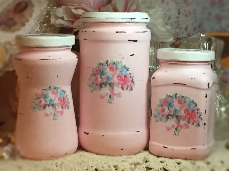 3 Shabby Chic Pink Vintage Glass Jars Canisters Decoupage image 0