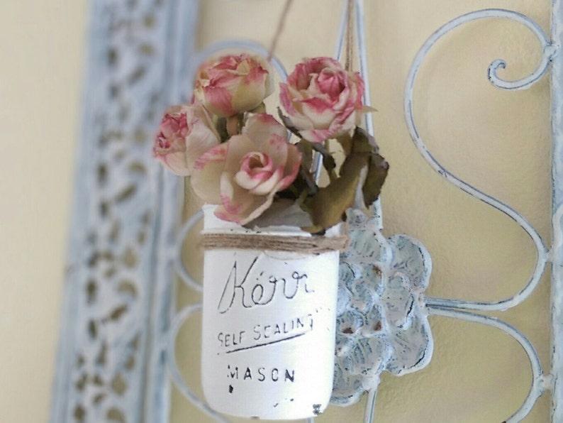 Shabby Chic White Hanging Mason Jar Flower Floral Vase Decor image 0