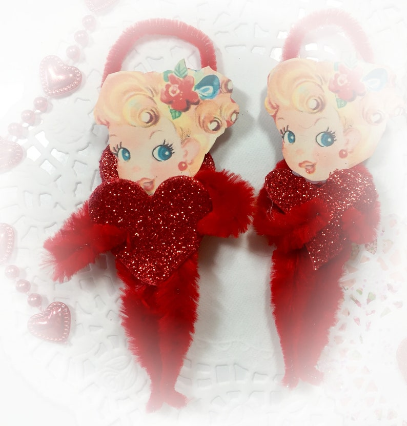 Vintage Girl and Heart Chenille Valentines Day Ornament  image 0