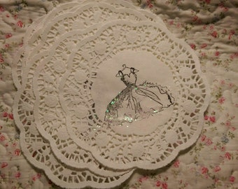 12 Pc White Lace Paper Doily Doilies Hand Stamped Vintage Dress Iridescent Glitter Gift Wrap Scrapbook Supplies READY TO SHIP Destash Lot