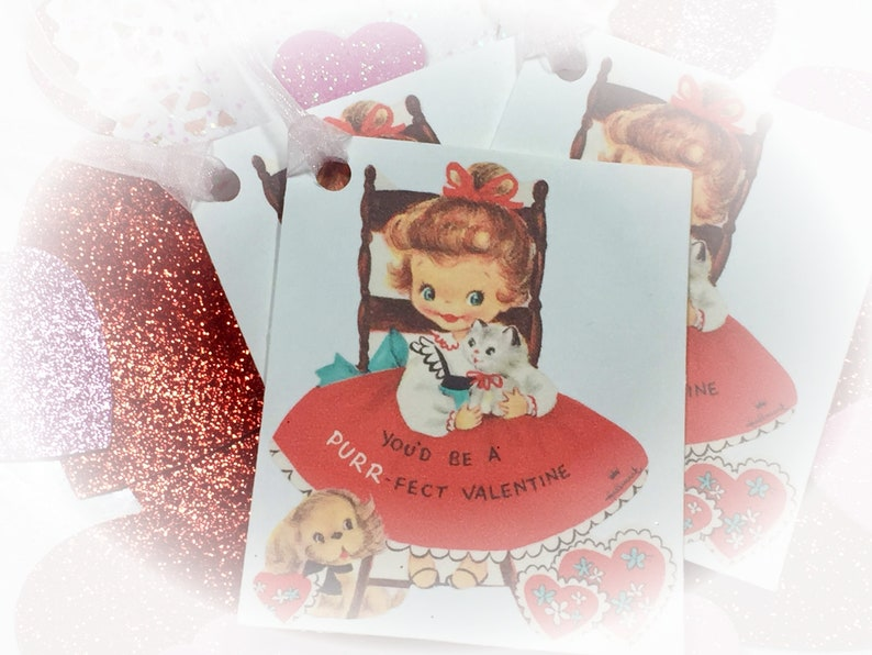 9 Valentine Handmade Gift Bag Tags/Cards & Ribbons  Little image 0