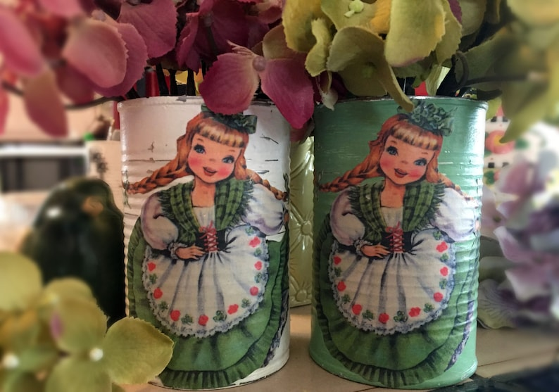 St. Patrick's Day Decorations Green or White Tin Can Vases image 0