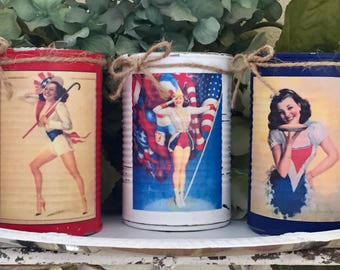 PIN UP Americana Rustic Painted Tin Cans Vase Patriotic Summer Party Decor Flag Memorial Independence Day 4th of July 4 American Centerpiece