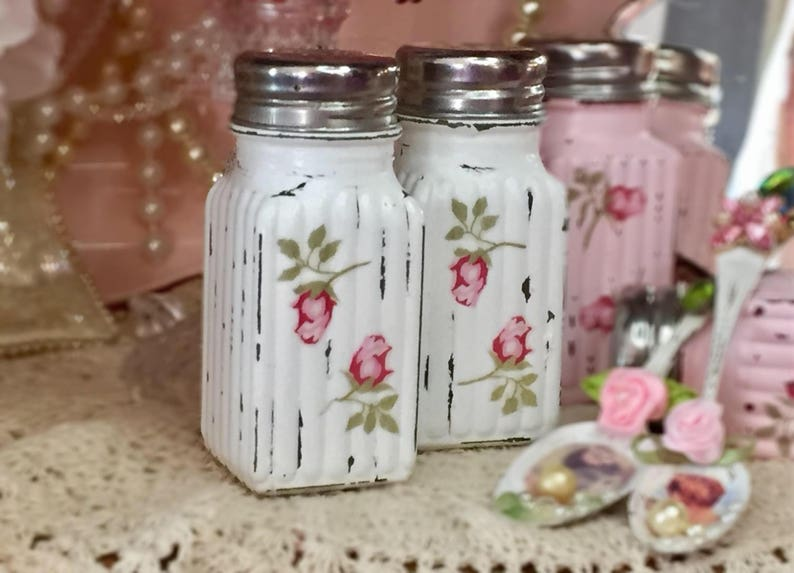 Shabby Chic Salt Pepper Shakers Glass Set 34 COLORS Decoupage image 0
