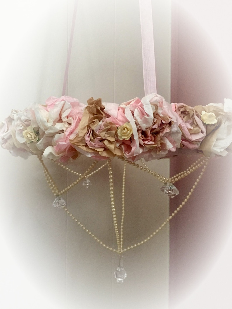 Shabby Chic Mobile Chandelier Wreath  Coffee Filter Paper image 0