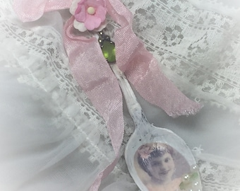 Shabby Chic Spoon Victorian Style Wall Table Decor Altered Spoons Vintage Ribbons Pearls Costume Jewelry Hostess Housewarming Gift for Her