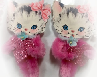 Pink Kitty Chenille Vintage Style Valentines Day Ornament - Christmas Tree Decoration - Kitten Cat Pipe Cleaner Ornament - Gift Topper