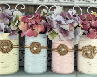 Shabby Chic Painted Cans .. Wedding Bridal Baby Shower Nursery Office Home Table Centerpieces Decor Flower Vase Housewarming Hostess Gift