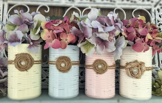Shabby Chic Painted Tin Can Vase Rustic Distressed Table Centerpiece