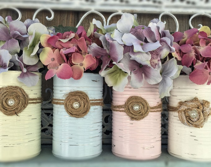 Featured listing image: Shabby Chic Painted Tin Can Vase Rustic Distressed Table Centerpiece Wedding Reception Baby Shower Party Home Decor Decoration Hostess Gift