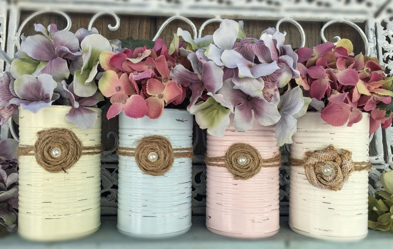 Shabby Chic Painted Cans .. Wedding Bridal Baby Shower Nursery image 0