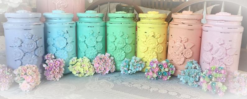 Shabby Chic Glass Flower Vase Jar Wedding Bridal Baby Birthday image 0