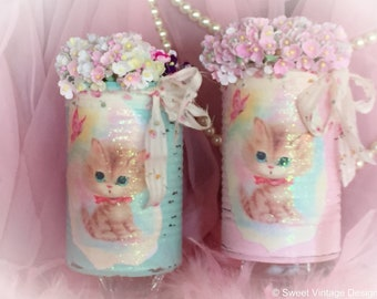 KITTY CAT Vintage Kitten Tin Can Vase Centerpiece Table Decor Baby Shower Birthday Party Nursery Decor Kitschy Gender Reveal Pink or Blue