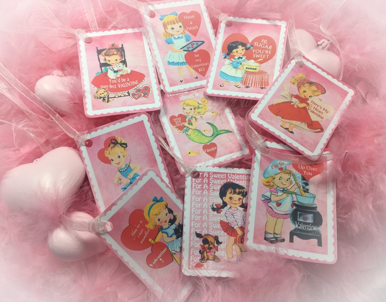9 Pink Valentine's Day Decor Tags/Cards AND 9 Ribbons image 0