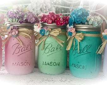 Shabby Chic Painted Mason Jar Centerpiece Decor Vase Wedding Bridal Baby Shower Birthday Party Mothers Day Hostess Gift Sweet Vintage Design