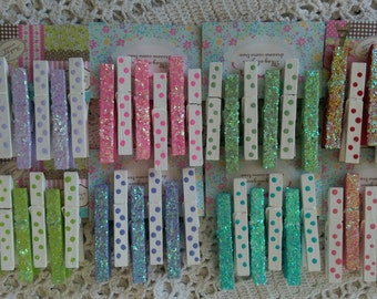 Set of 6 Magnets Whimsical Handpainted Wood Clothespins Pegs Glitter Polka Dots Refrigerator or Locker Home Office Dorm Gift Idea IN STOCK