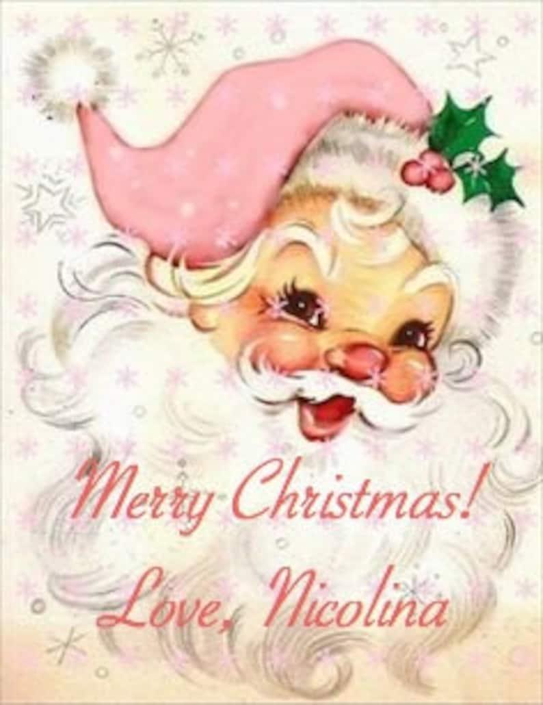 PERSONALIZED Set of 9 Pink Christmas Vintage Santa Claus image 0