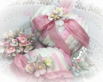 Shabby Chic Chenille Pastel Easter Egg - Vintage Flowers Ribbons - Happy Easter Basket Filler Spring Accents Table Decor - Hostess Gift