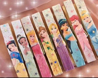 8 Disney Princess Princesses Clothespins SET Decorated Glitter Decoupage Gift Bag Tag Clips Party Favors Sweet Vintage Designs Gift Idea