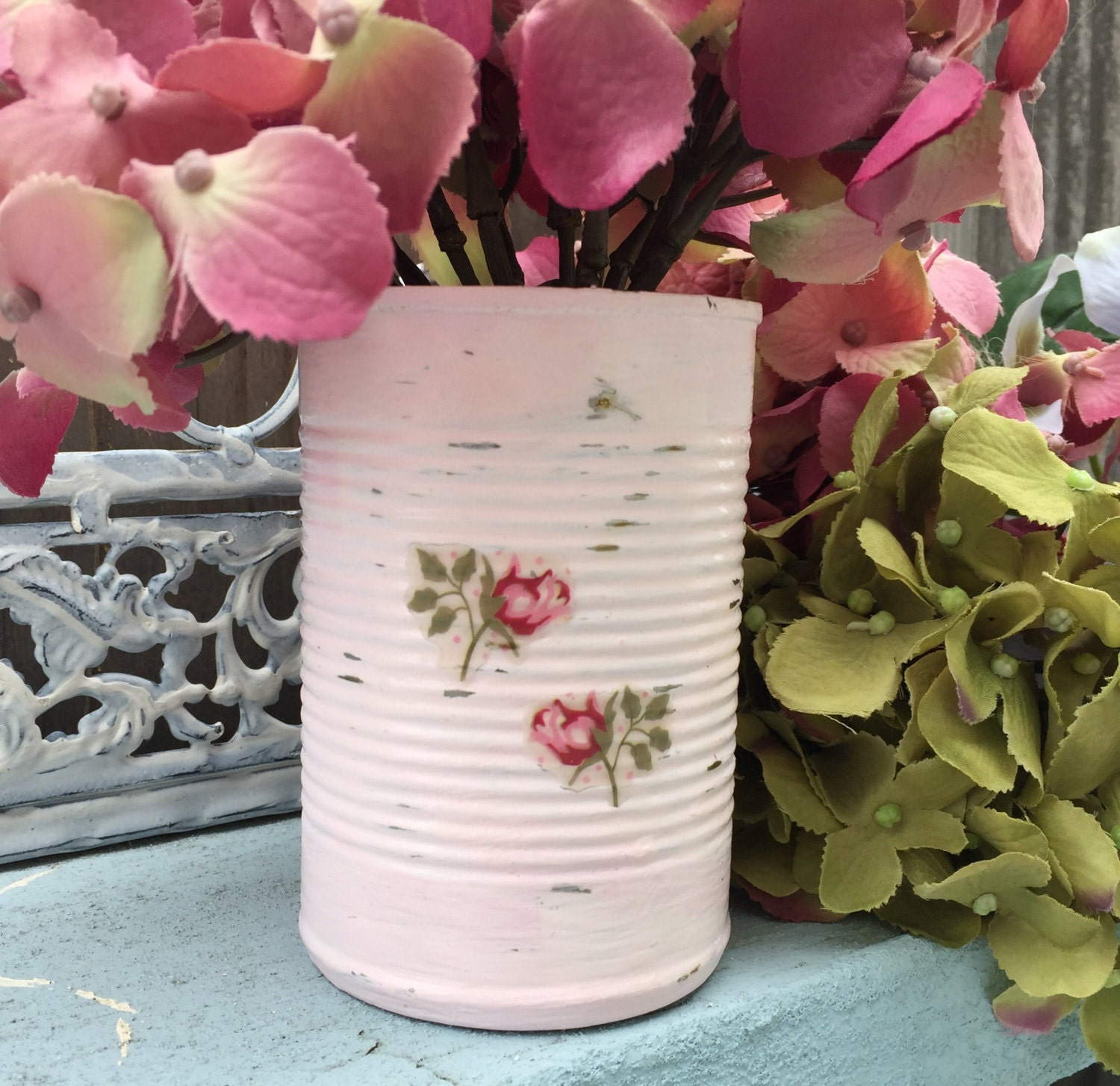 Shabby Chic Wedding Table Decorations: Pink Shabby Chic Painted Decoupage Roses Tin Can Vase