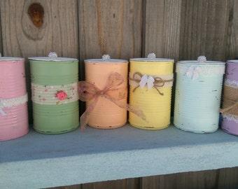 Shabby Chic Tin Can Flower Vase Decorative Lids Pastels Centerpieces Wedding Home Dorm Nursery Boudoir Table Decor Party Favors Teacher Gift