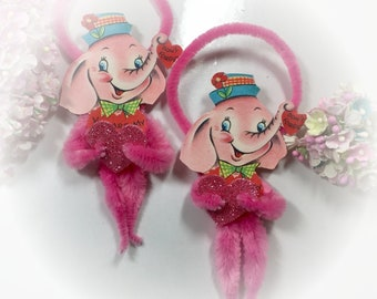 Pink Elephant Pipe Cleaner Vintage Style Valentines Day Ornament Card - Christmas Tree Decoration - Bump Chenille Ornament - Gift Topper Tag