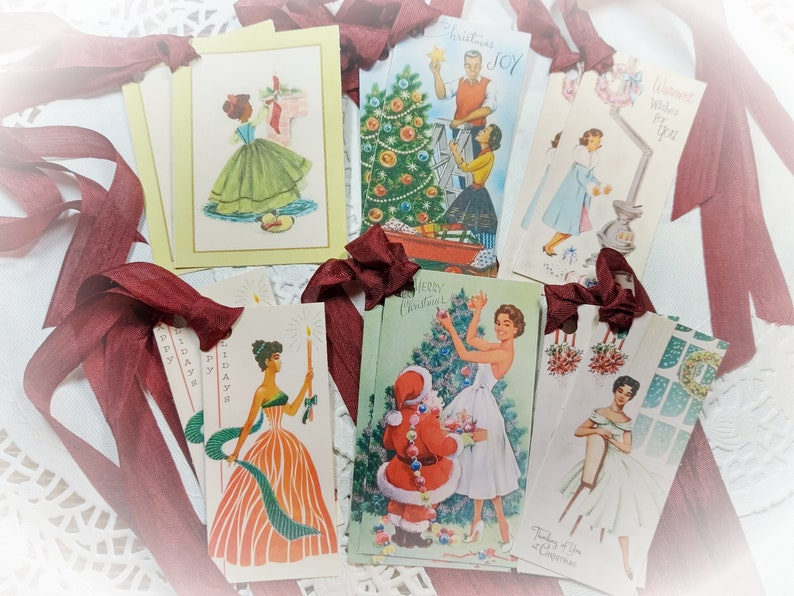 12 Vintage African American Black Ethnic Christmas Gift Tag image 0