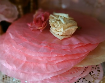 """12 Pink Hand Dyed Paper Coffee Filters Scrapbook Journal Gift Wrap DIY Craft Art Supplies Shabby Cottage Chic Rustic Size 7.50"""" Destash Lot"""