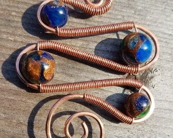 Dyed Quartz & Copper Squiggle Pendant