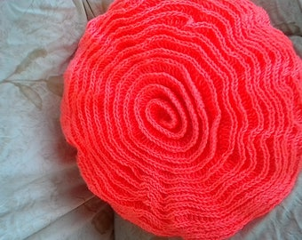 "16""  Round Double Sided Coral Ruffle Rose Pillow"
